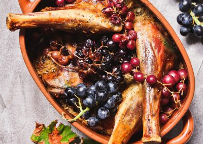 Lambshanks with Easter spices and fresh grapes_